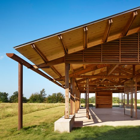 Wooden pavilions by Lake Flato create an education centre in the Texas landscape