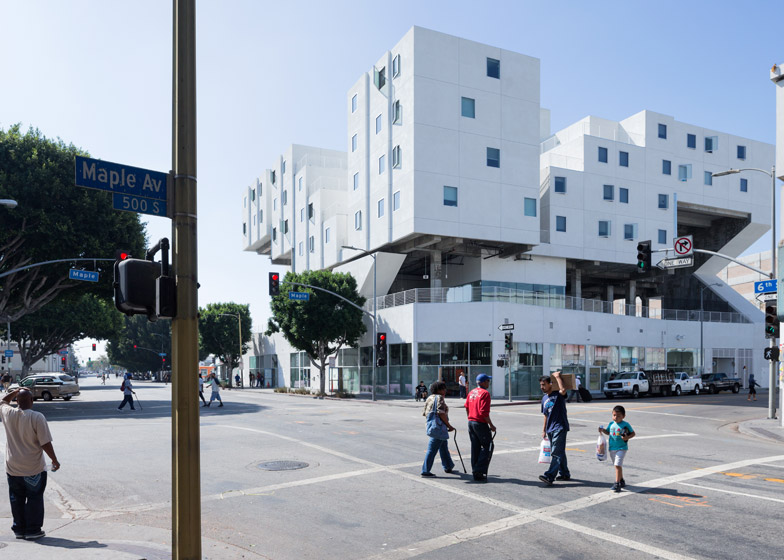LA A+D museum exhibition about shelter Star Apartments, 6th Street and Maple Avenue by Michael Maltzan