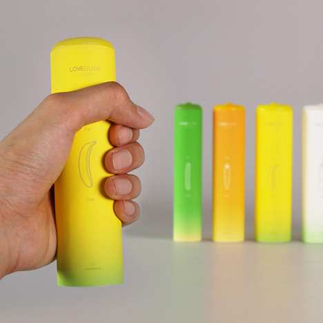 Condom packaging based on different vegetable girths to help choose the correct fit