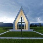 White concrete chapel by Gerhard Sacher features glazed walls that allow views right through
