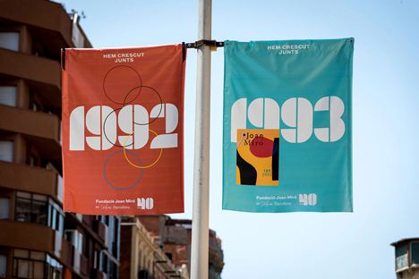 Joan Miró 40th anniversary banners designed by Mucho