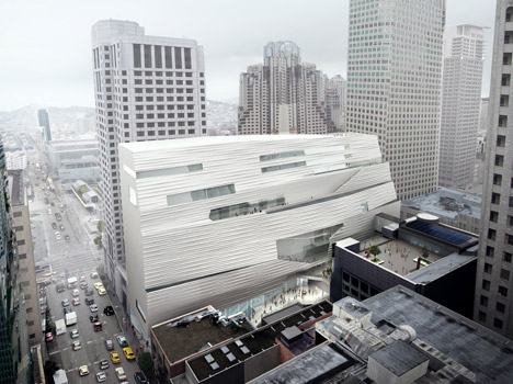 The facade of Snøhetta's extension to SFMOMA. Image courtesy of MIR and Snøhetta