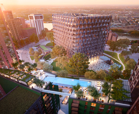 Glass swimming pool suspended ten storeys over London