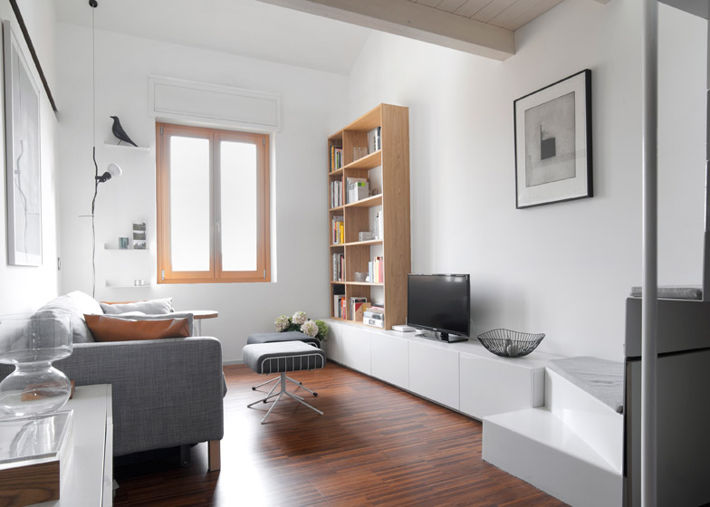 Milan dental studio converted into compact two-storey apartment
