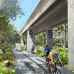 Underline park by James Corner Field Operations would stretch below elevated rail tracks in Miami