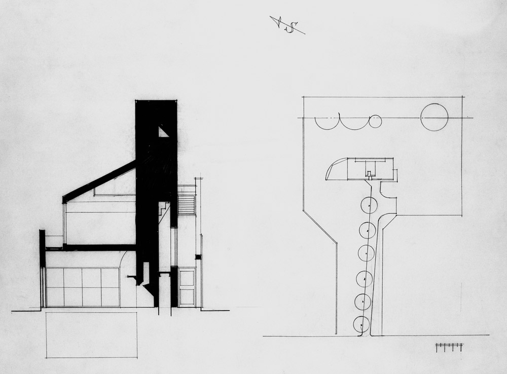 ... Vanna Venturi House By Robert Venturi And Denise  Cross Section And Site  Plan ...