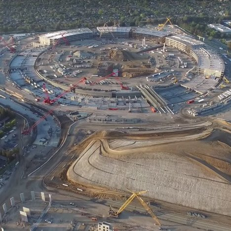 Drone movie shows Foster + Partners' Apple Campus 2 beginning to rise out of the ground