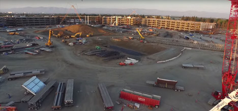 Apple One Infinite Loop latest drone footage Foster Partners