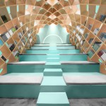 Wooden gridshell by Anagrama forms shelves inside a Mexico library