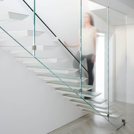 Incorporated adds cantilevered steel and glass staircase to a New York apartment