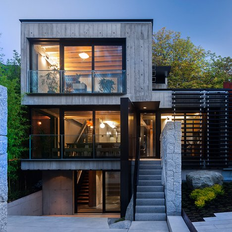 Measured Architecture clads a Vancouver home in wood-textured concrete