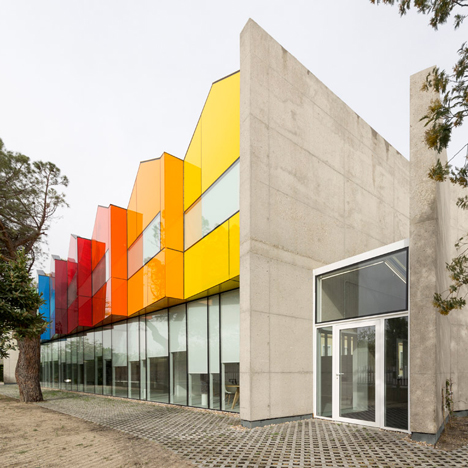 Hans Abaton styles children's dormitory at Esther Koplowitz Foundation as row of colourful houses
