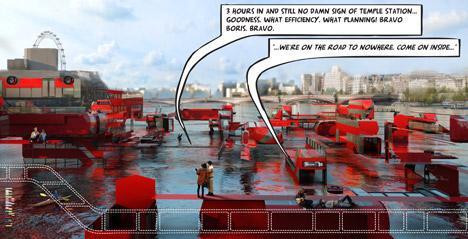 Floating Tidal Exploded Bus Maze by Chris Doray Studio