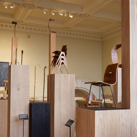 "Robin Day's Works in Wood displayed on Assemble's ""forest"" of columns at the V&A"