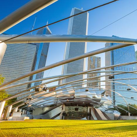 Millennium Park Pritzker Pavilion_Frank Gehry_shutterstock_dezeen_sqd
