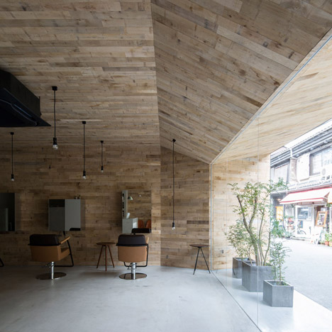 Okuwada gives Mook salon in Osaka an oak-panelled makeover