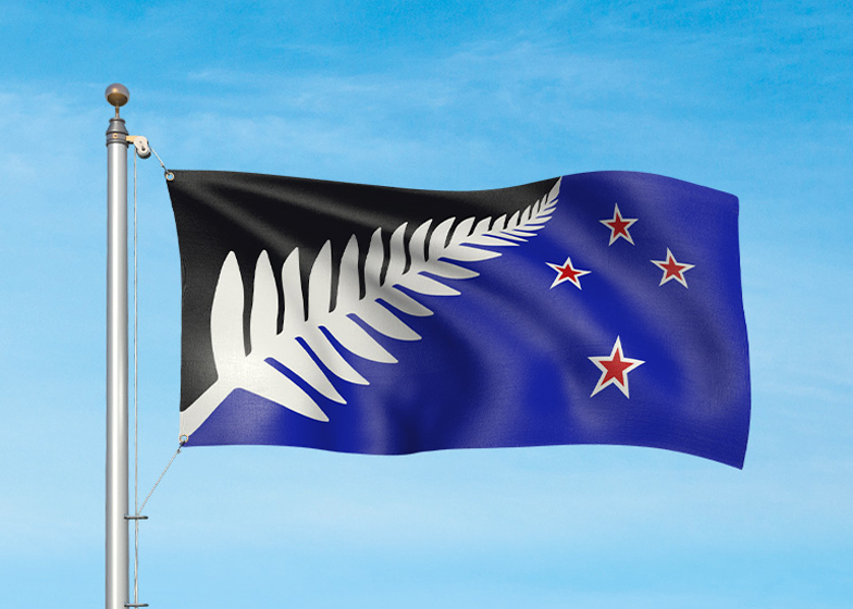 New Zealand potenial flag design: Silver Fern (Black, White and Blue) by Kyle Lockwood