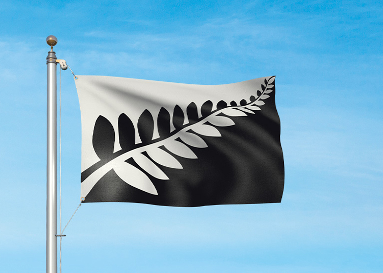 New Zealand potenial flag design: Silver Fern (Black and White) by Alofi Kanter