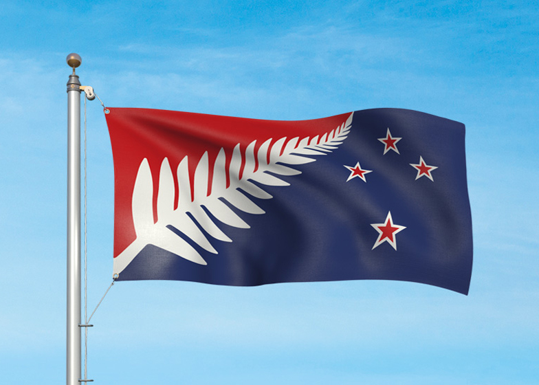 New Zealand potenial flag design: Silver Fern (Red, White and Blue) by Kyle Lockwood