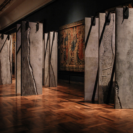 Grafton Architects stands concrete columns in rows to create The Ogham Wall at the V&A