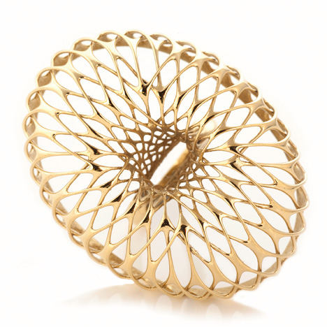 Orbis 3D-printed gold ring by Lionel T Dean
