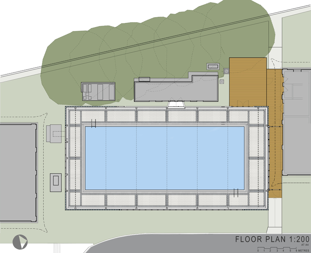 Townsend associates encloses a swimming pool in a glazed for Swimming pool site plan