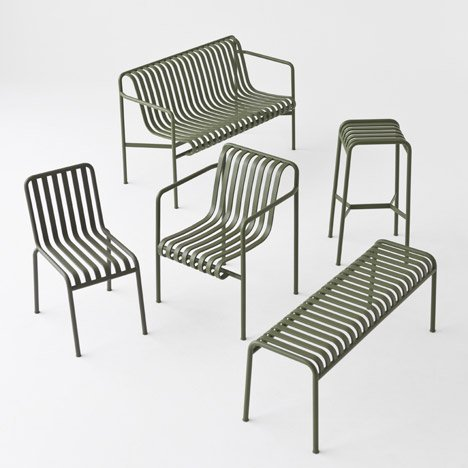 Bouroullec brothers design slatted Palissade outdoor furniture for Hay
