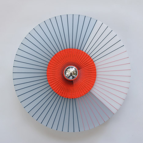 Marta Bakowski uses thread to create patterns across Rays lamps