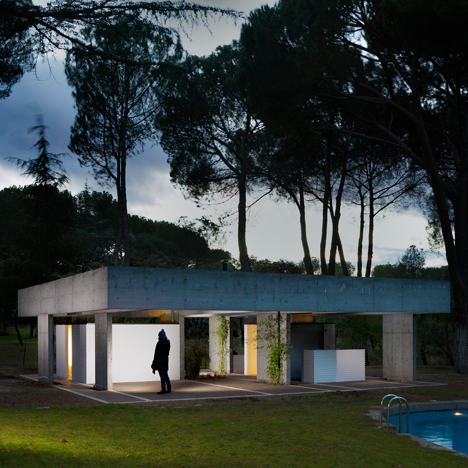San Lucas Pavilion by FRPO is a concrete pool house amongst pine trees