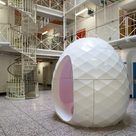 Karl Lenton designs egg-shaped movable therapy pods for prisons