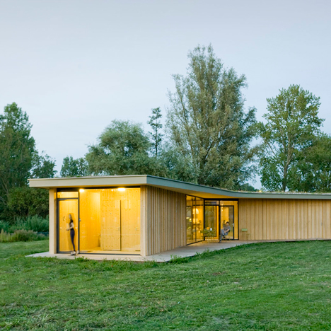 "GAAGA uses prefabricated wooden walls to build ""three-legged"" tea house in a Dutch park"