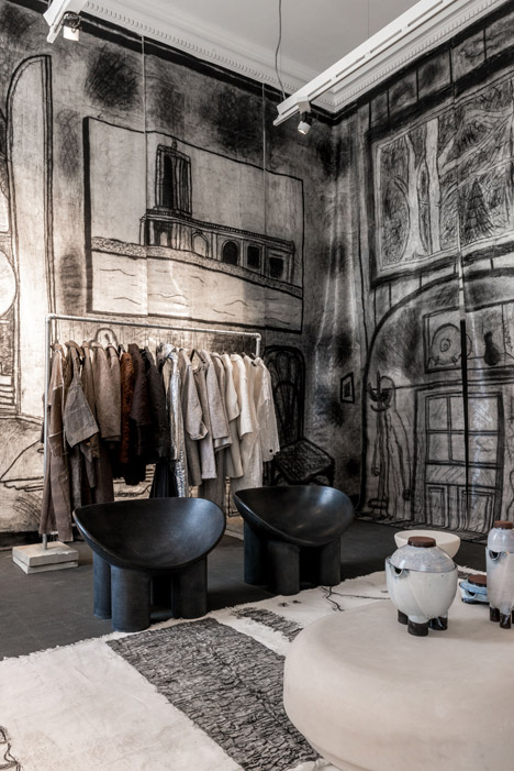 Charcoal sketches cover the walls of The Drawing Room by Faye and Erica Toogood