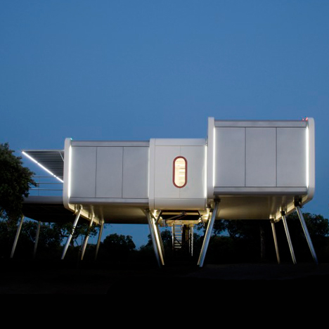 The Spaceship Home by NOEM is a shiny elevated structure influenced by sci-fi movies