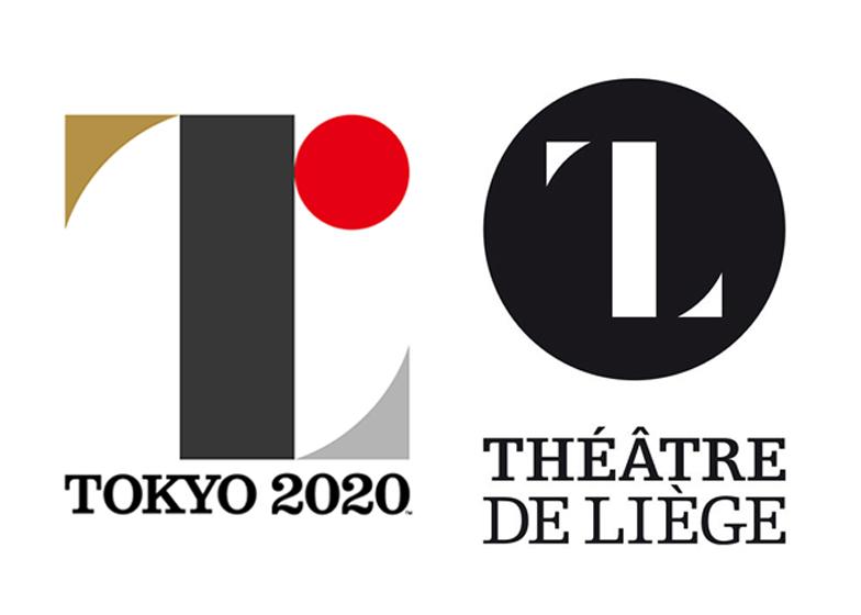 Tokyo Olympics 2020 logo by Kenjiro Sano next to Theatre Liege logo by Olivier Debie