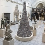 Barnaby Barford's Tower of Babel comprises 3,000 tiny ceramic shops