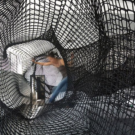 "Tube net installation by Numen/For Use designed as a ""giant convulsing centipede"""