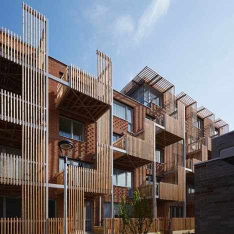 Brady Mallalieu Architects adds slatted timber balconies to east London housing scheme