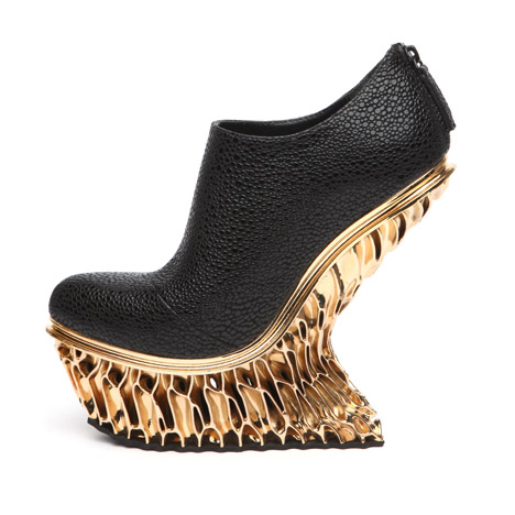 United Nude Francis Bitonti Mutatio Collection 3D printed gold plated shoe