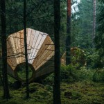 Giant timber megaphones designed by students to amplify sounds of an Estonian forest