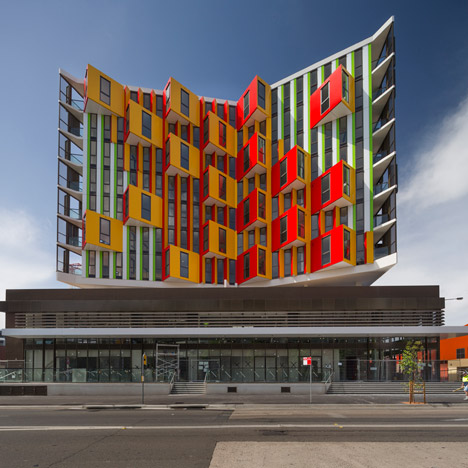 Sydney apartment block by MHN Design Union appears to change colour
