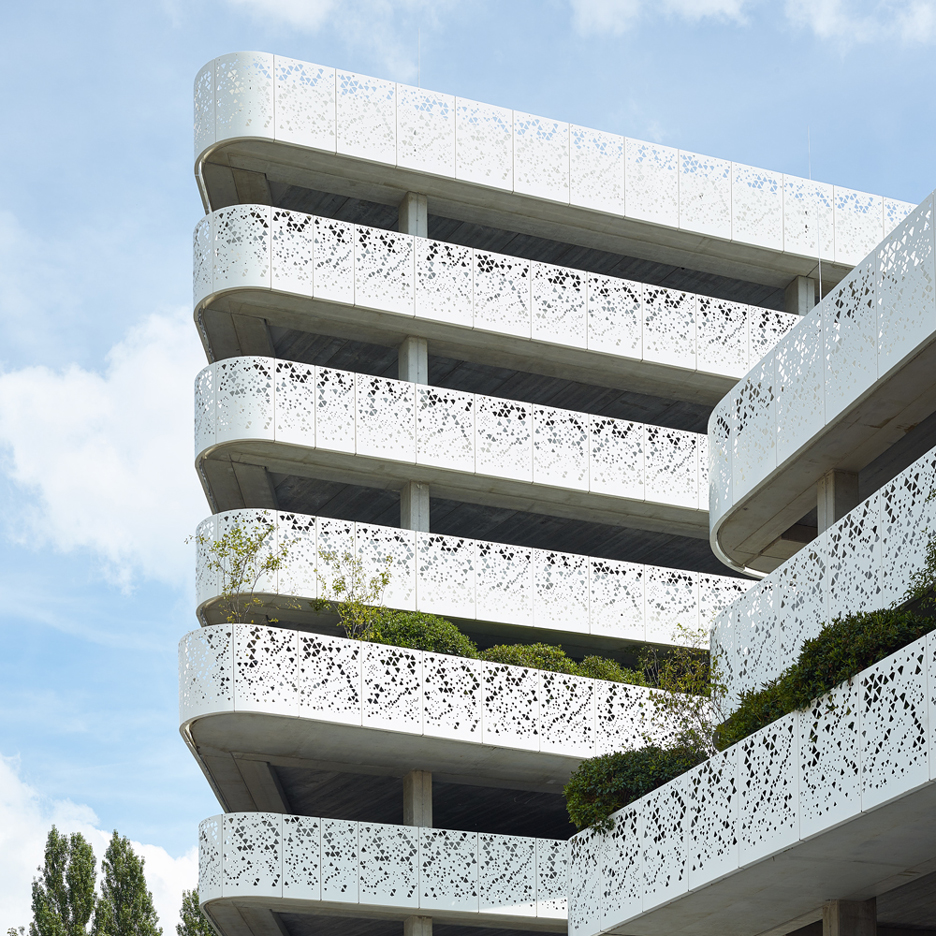 Geometric perforations pattern facade of Belgian hospital car park by Abscis Architecten
