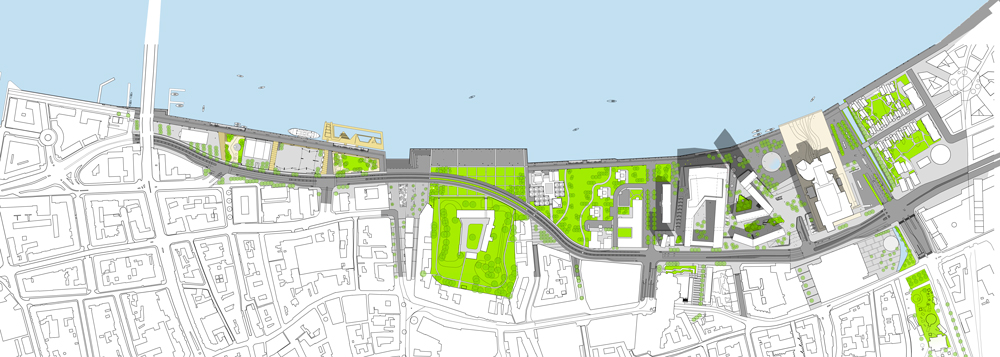 Promenade and landscaping for Aalborg waterfront by CF Møller