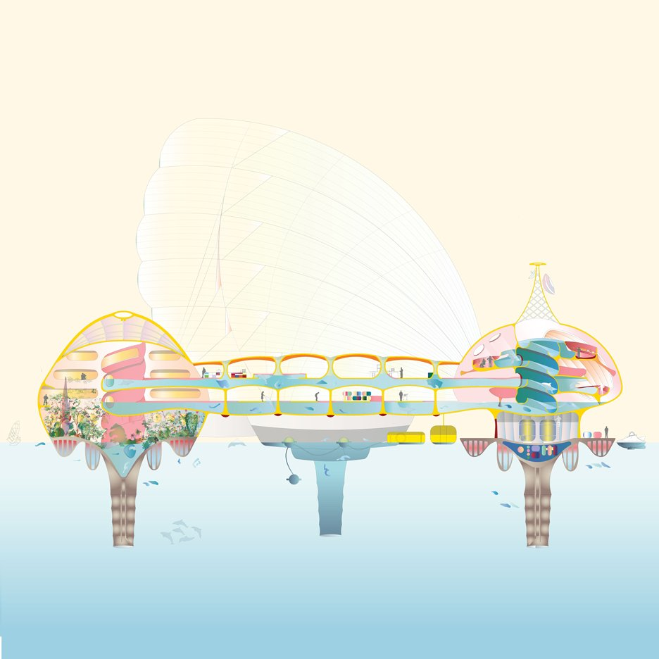 WORKac and Ant Farm design a utopian floating city for humans and marine animals