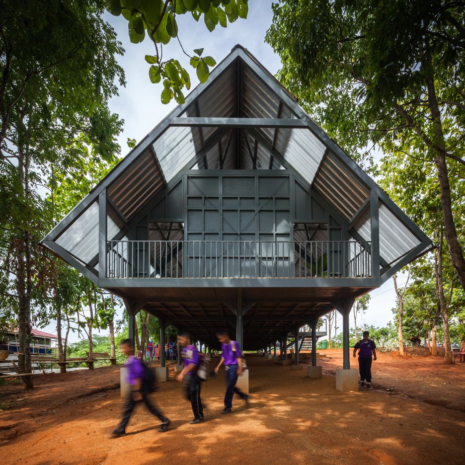 Earthquake-resistant school in Thailand raised up on stilts by Vin Varavarn Architects