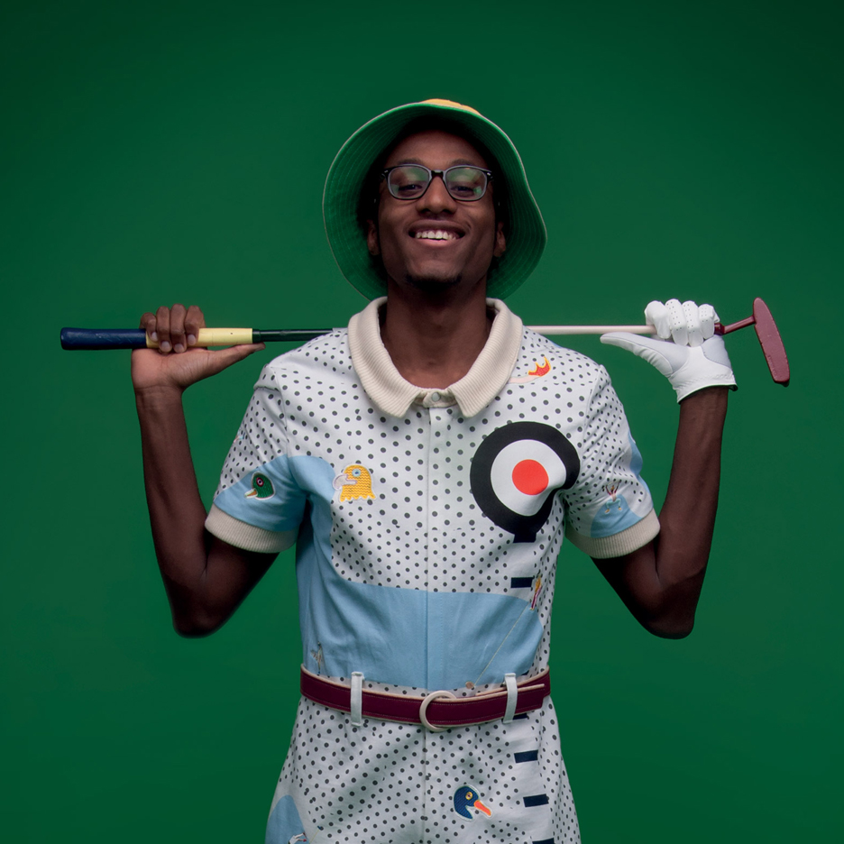 Bird heads and leaping golfers adorn Jason Page's alternative golfing suits