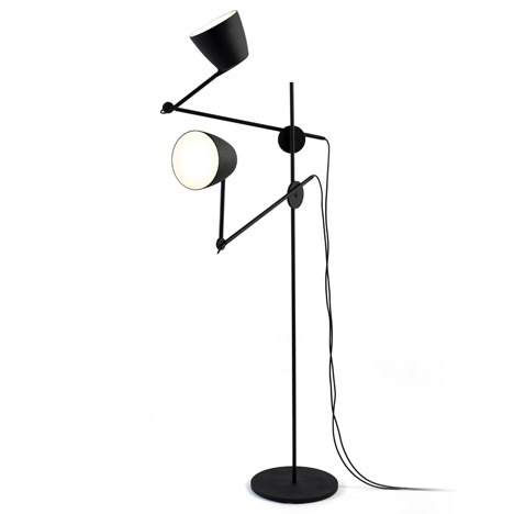 Lights held on angled branches form Nir Meiri's Black Swan lamp