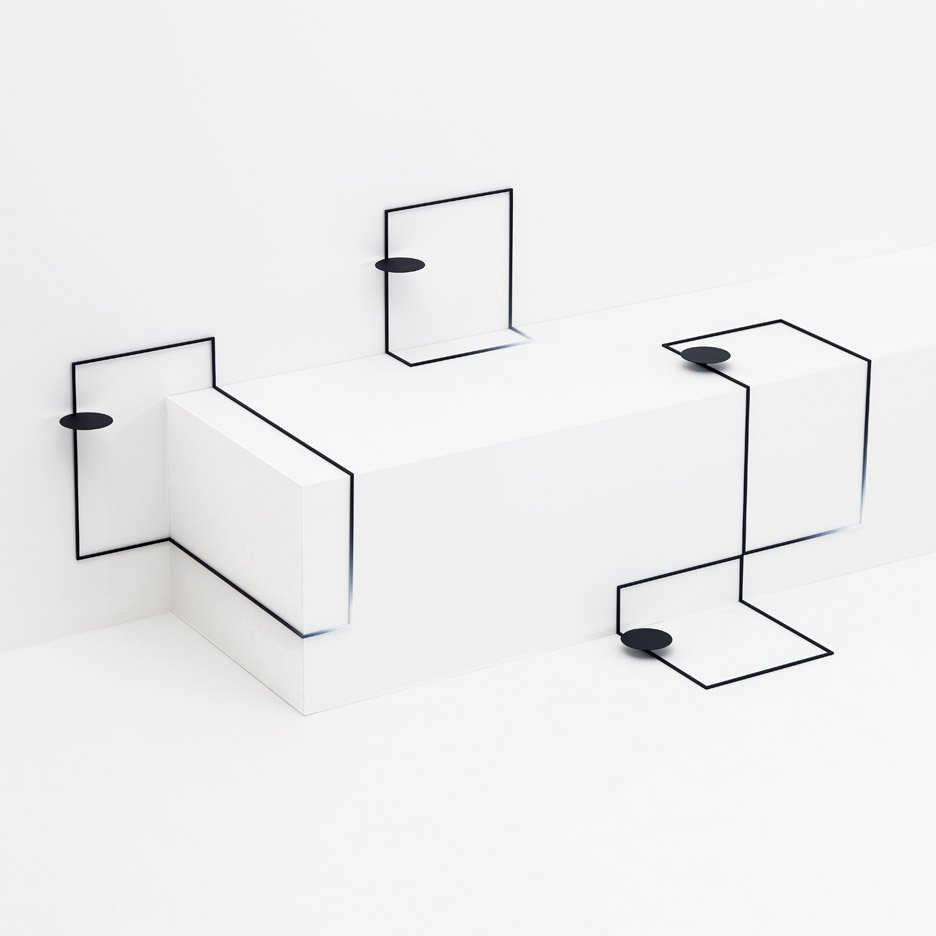Nendo's sketch-like Border tables fit the contours of a Tokyo gallery