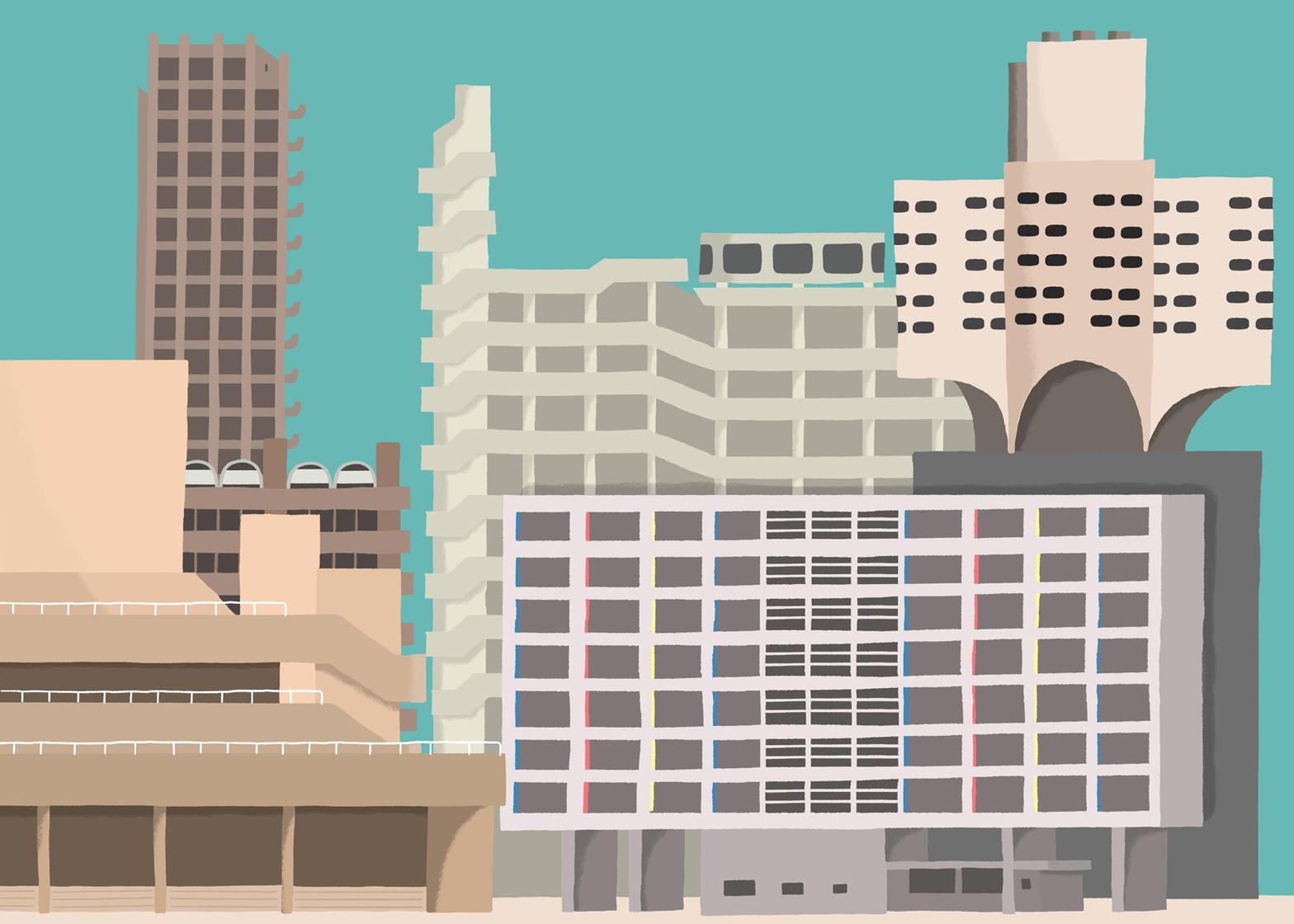 Brutalism illustration by Daniel Frost 784
