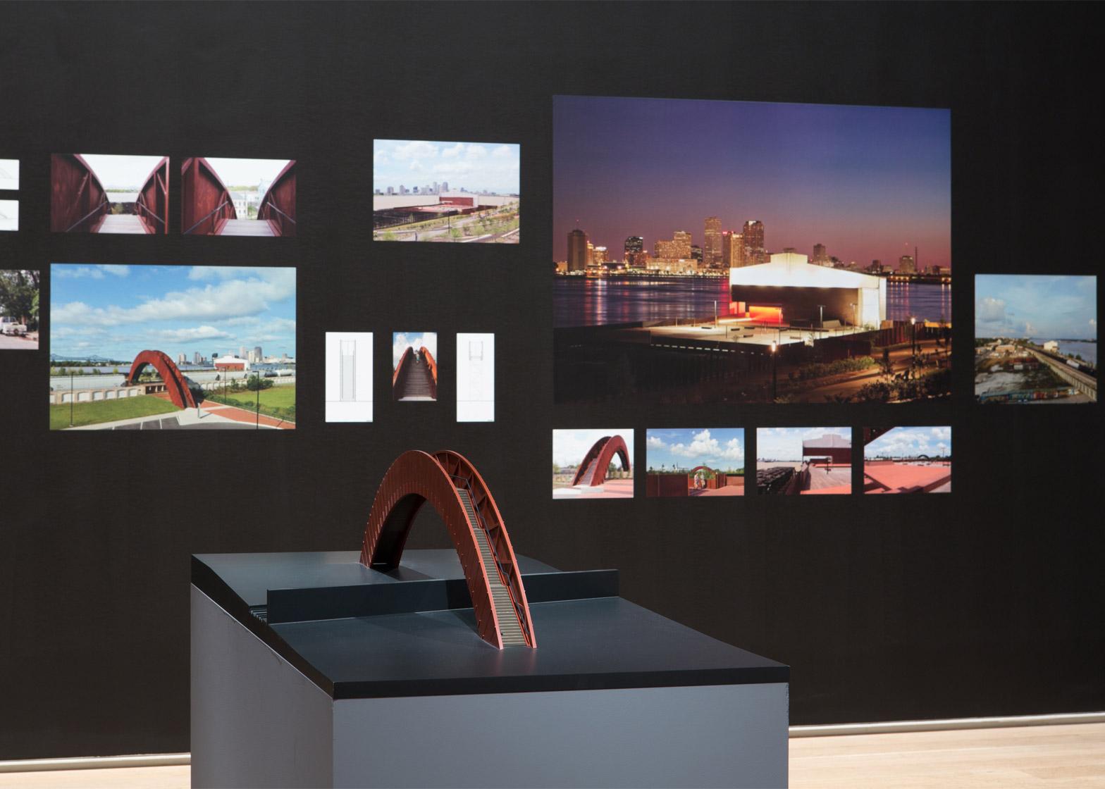 Installation shot of the David Adjaye retrospective at the Institute of Chicago