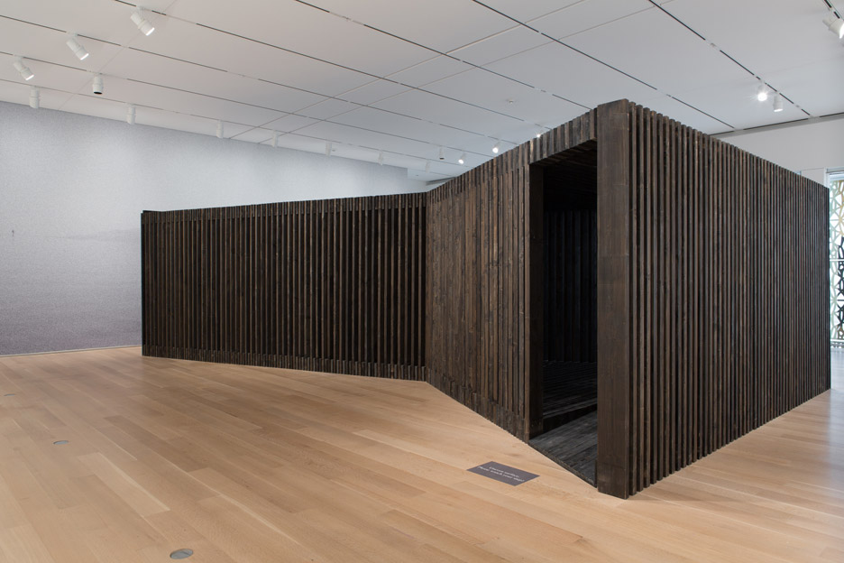Installation shot of the David Adjaye retrospective at the Institute of Chicago